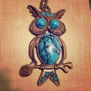 Bronze and Turquoise colored stones Owl necklace